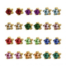 R113Y Gold Plated Coloring diamond Stone Ear pierc...