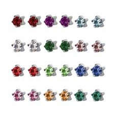 R113W Silver Plated diamond Stone Ear piercing