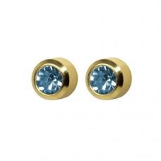 R203Y Gold Plated Blue diamond Stone Ear piercing