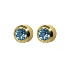 R203Y Gold Plated Blue diamond Stone Ear piercing
