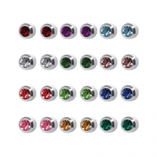 R213W Silver Plated Coloring diamond Stone Ear pie...