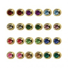 R213Y Gold Plated Coloring diamond Stone Ear pierc...