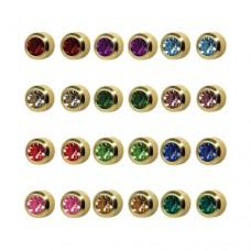 R213Y Gold Plated Coloring diamond Stone Ear pierc...