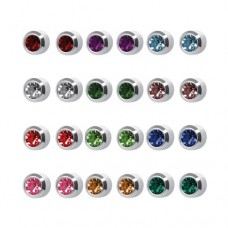 M213W Silver Plated Coloring Stone Ear piercing